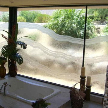 "Bathroom Windows - ""Ondas"" by Sans Soucie Art Glass"