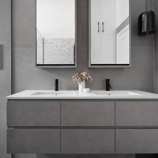 75 beautiful bathroom with beige cabinets and laminate