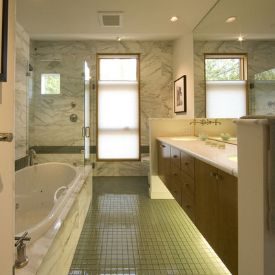 Example of a trendy green tile bathroom design in Seattle with an undermount sink, flat-panel cabinets and medium tone wood cabinets