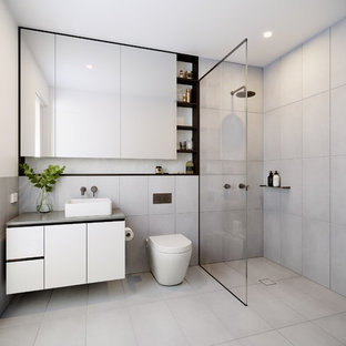 Design Ideas For A Modern 3/4 Bathroom In Melbourne With Ceramic Floors, A