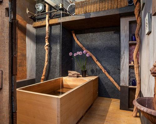 Foto e idee per bagni industriali con pavimento in legno - Bagni con pavimento in legno ...