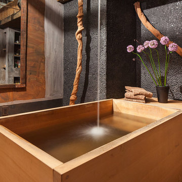 Bathroom with Japanese wooden soaking tub