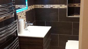 Bathroom with light up mirror