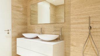 Bathroom with Travertine Tiles
