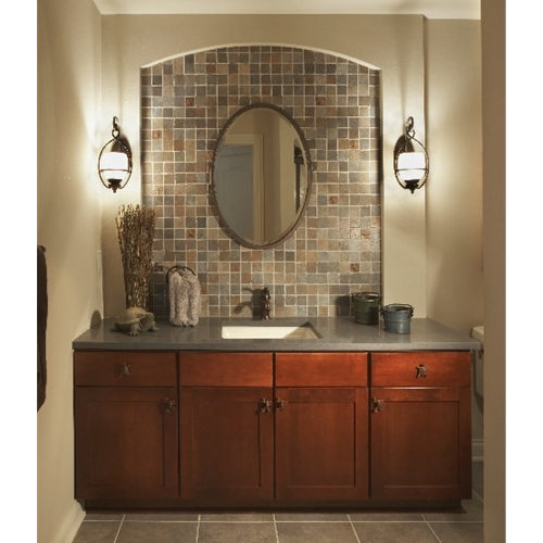 inspiration for a mid sized mediterranean bathroom remodel in milwaukee with shaker cabinets medium