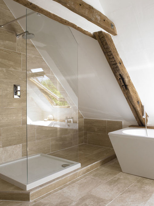 small trendy master beige tile and stone tile limestone floor bathroom photo in sydney with a - Houzz Bathroom Designs