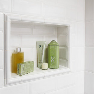 Elegant white tile and subway tile bathroom photo in Toronto