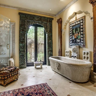 Large eclectic master marble floor and beige floor bathroom photo in Dallas with beige walls