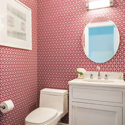Bathroom - small transitional medium tone wood floor bathroom idea in New York with an undermount sink, shaker cabinets, white cabinets, a two-piece toilet and red walls