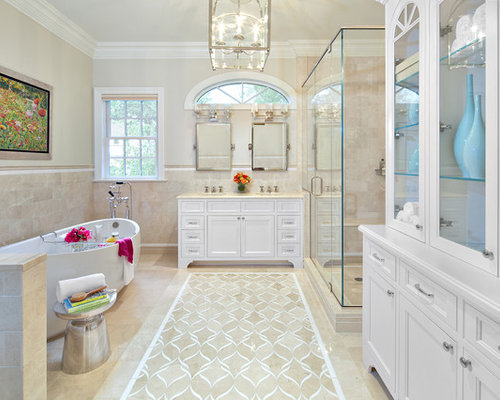 Best crema marfil bathroom design ideas remodel pictures houzz for Best paint color for crema marfil bathroom