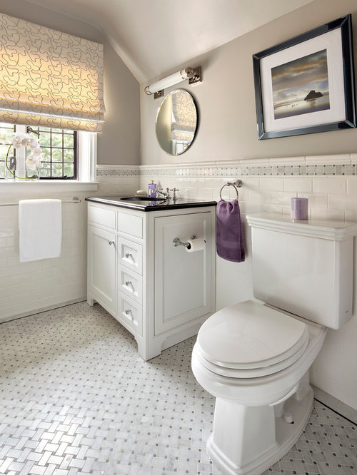 Example Of A Trendy White Tile And Subway Gray Floor Bathroom Design In New York