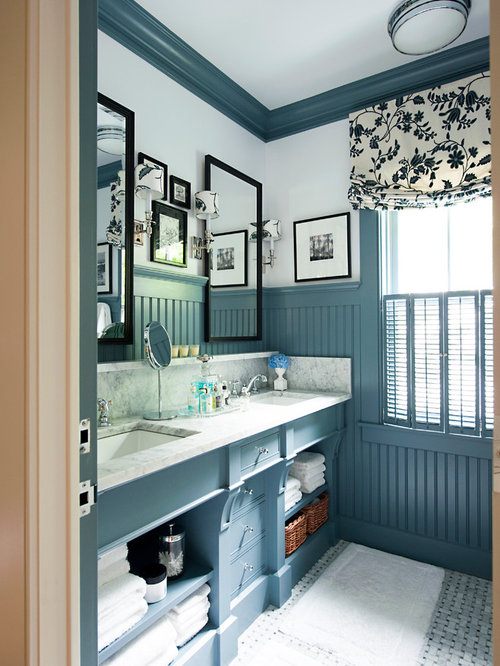 bathroom traditional bathroom idea in other with open cabinets marble countertops and blue cabinets - Bathroom Ideas Blue