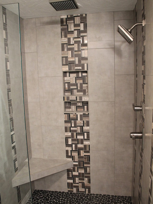 Salle de bain avec un sol en galet et carrelage en m tal - Galet sol salle de bain ...