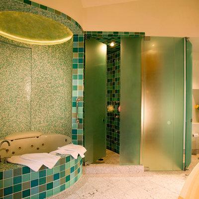 Bathroom - contemporary mosaic tile bathroom idea in Denver