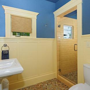 Immagine di una stanza da bagno con doccia stile americano con lavabo a colonna, doccia alcova, WC a due pezzi, piastrelle multicolore, piastrelle in pietra, pareti blu e pavimento in ardesia