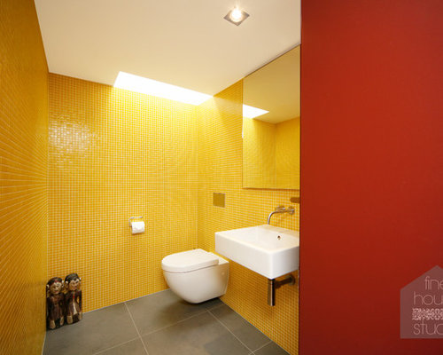 75 Yellow Tile Bathroom with Red Walls Ideas: Explore Yellow Tile ...