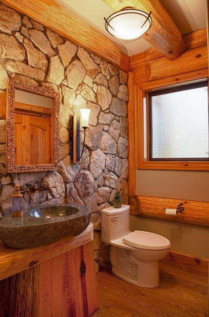 Rustic Bathroom by Traditional Log Homes Ltd