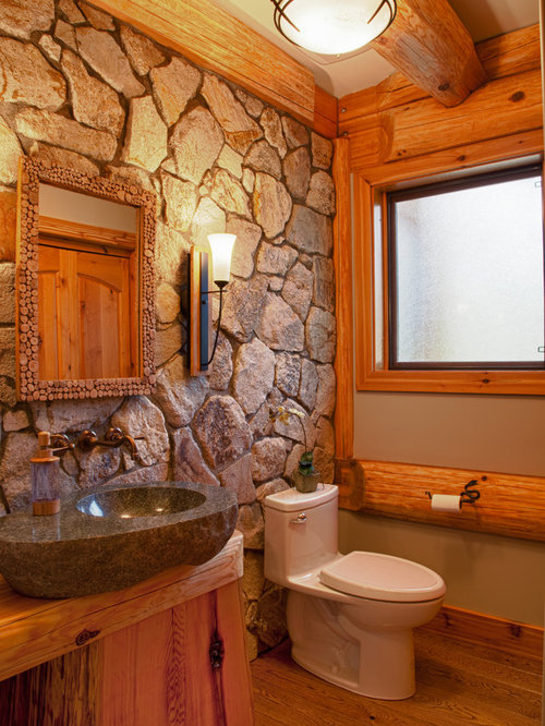 Mountain style bathroom photo in Calgary with a vessel sink. Cabin Bathroom   Houzz