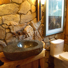 Contemporary Bathroom by Traditional Log Homes Ltd