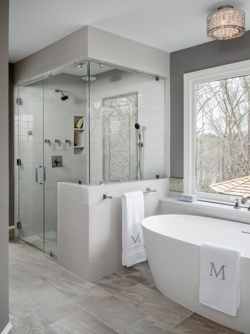 inspiration for a large transitional master gray tile and ceramic tile porcelain floor and gray floor - Bathroom Remodel Designs