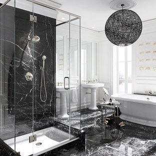 Inspiration for a huge timeless master marble floor bathroom remodel in Milwaukee with a pedestal sink and white walls