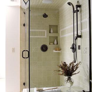 Corner shower - traditional green tile corner shower idea in Minneapolis