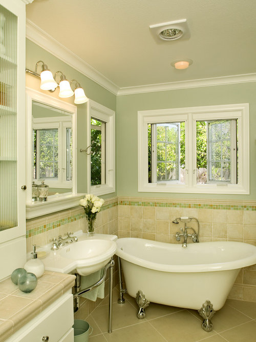 Elegant Bathroom Photo In San Diego With A Claw Foot Tub A Console Sink
