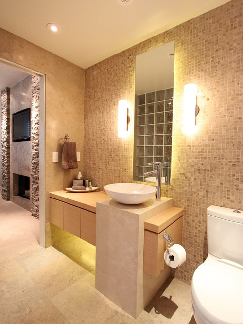 75 Bathroom With Terra Cotta Tile And Multi Coloured Walls