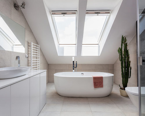 This Is An Example Of A Large Modern Bathroom In London With A Corner  Shower,