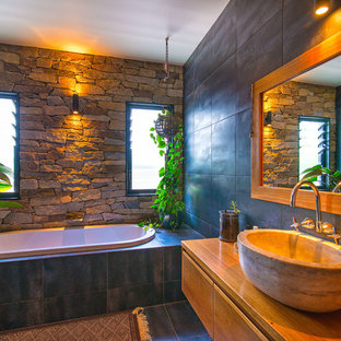 Photo of a country bathroom in Gold Coast - Tweed with an alcove tub, brown