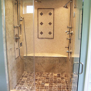 Ispirazione per una stanza da bagno padronale classica di medie dimensioni con doccia alcova, piastrelle beige, piastrelle marroni, piastrelle in ceramica e pavimento in travertino