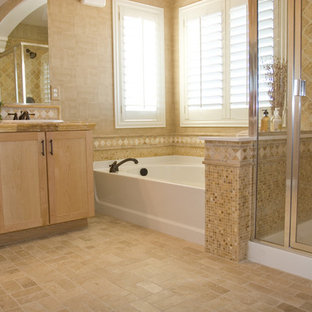 Bathroom - large traditional master terra-cotta tile bathroom idea in Orange County with shaker cabinets, light wood cabinets, a one-piece toilet, beige walls, a drop-in sink and wood countertops