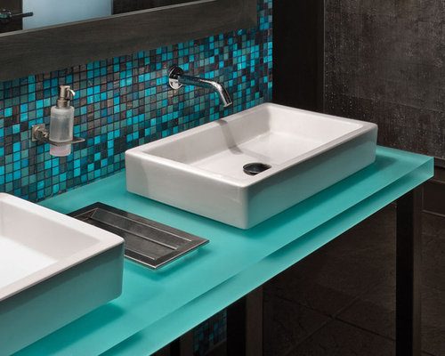 Bathroom Design Ideas Renovations Photos With Recycled Glass Benchtops And Travertine Floors