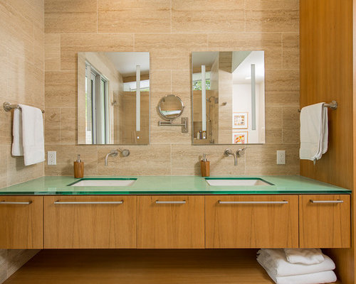brown tile bathroom. Inspiration for a 1950s brown tile bathroom remodel in Santa Barbara with  flat panel cabinets 30 Best Brown Tile Bathroom Ideas Remodeling Photos Houzz