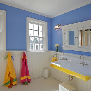 Bathroom - traditional kids' bathroom idea in DC Metro with a trough sink and blue walls
