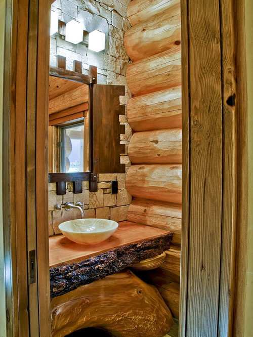 Mountain style bathroom photo in Vancouver with a vessel sink and wood  countertops Small Log Cabin Bathrooms Houzz