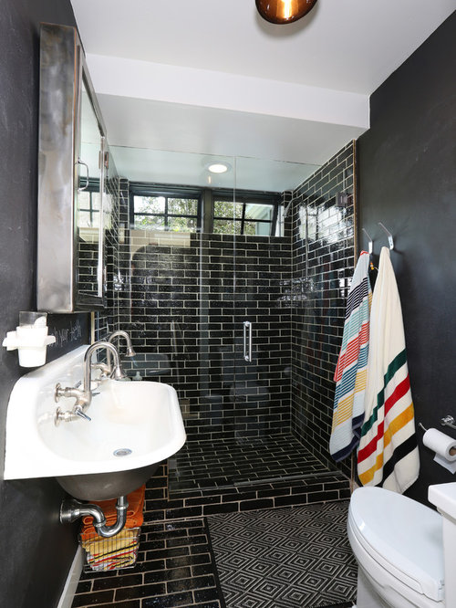 Inspiration For A Small Contemporary 3/4 Black Tile Bathroom Remodel In  Orange County With