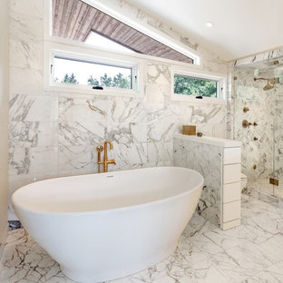 Inspiration For A Contemporary 3/4 White Tile And Marble Tile Marble Floor  And White