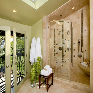 Inspiration for a timeless bathroom remodel in Orange County with green walls
