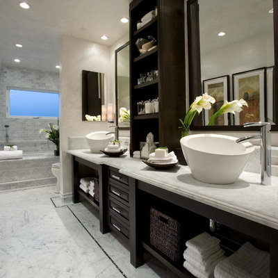 Inspiration for a transitional white tile marble floor bathroom remodel in Orange County with a vessel sink, marble countertops, an undermount tub and white walls