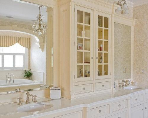 Elegant bathroom photo in New York. Off White Vanity   Houzz