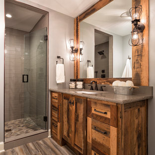 Inspiration For A Rustic Gray Tile Brown Floor Alcove Shower Remodel In Minneapolis With Shaker Cabinets