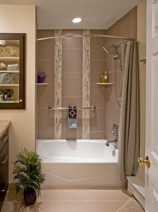 ... White Curtains For Bathroom · Curved Shower Rods Houzz ...