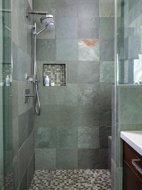 Stanza da bagno con piastrelle in ardesia e pareti verdi - Piastrelle in ardesia ...