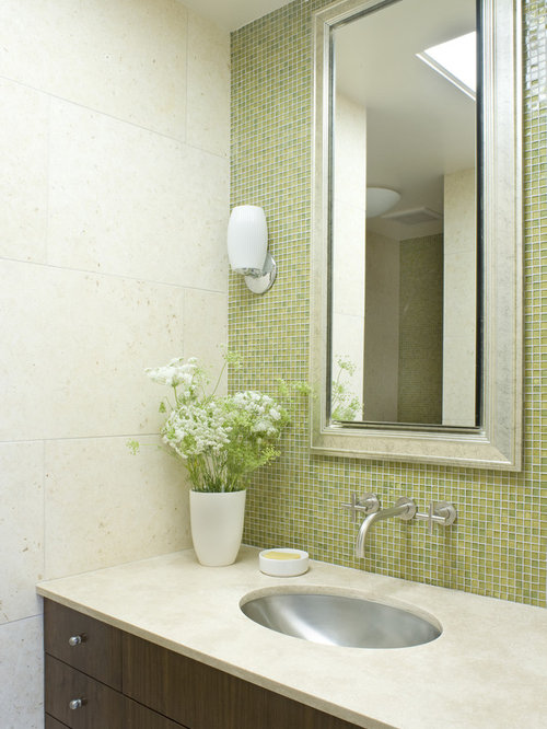 contemporary mosaic tile bathroom idea in san francisco with an undermount sink and green walls - Bathroom Designs With Mosaic Tiles