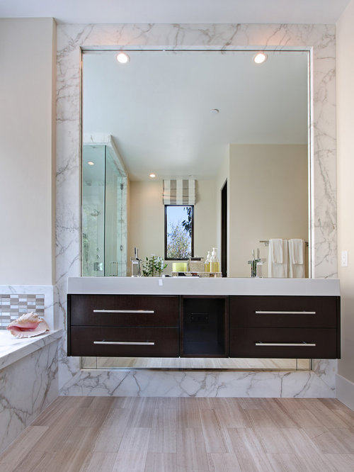 Example Of A Trendy White Tile And Marble Tile Bathroom Design In Orange  County With Flat