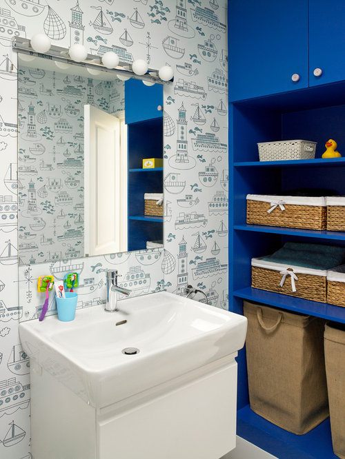 Modern Family Bathroom Ideas Part - 27: Inspiration For A Modern Family Bathroom In London With A Console Sink.