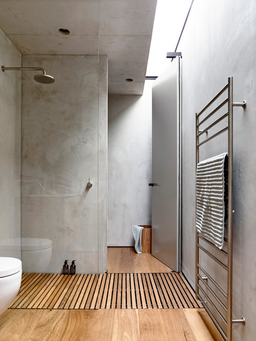 Design Ideas For A Mid Sized Modern Bathroom In Melbourne With Grey Walls,  Medium