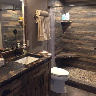 Imagen de cuarto de baño principal, rústico, pequeño, con armarios estilo shaker, puertas de armario de madera oscura, ducha abierta, baldosas y/o azulejos multicolor, baldosas y/o azulejos de porcelana, paredes marrones, suelo de baldosas de porcelana, encimera de cemento y suelo gris