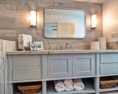 maritime badezimmer mit porzellanfliesen ideen beispiele. Black Bedroom Furniture Sets. Home Design Ideas